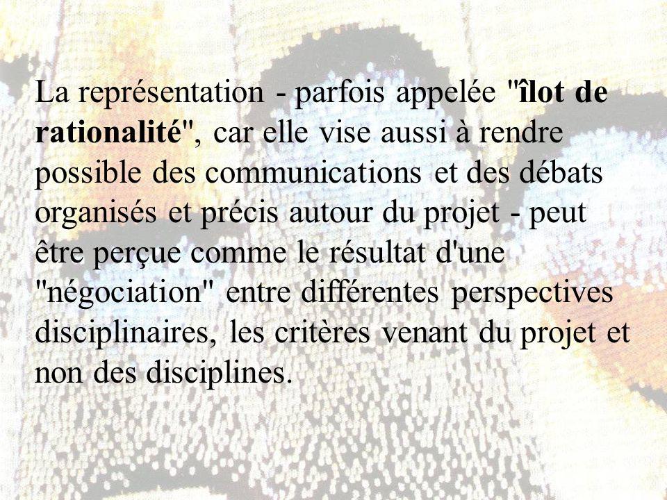 La représentation - parfois appelée îlot de rationalité , car elle vise aussi à rendre possible des communications et des débats organisés et précis autour du projet - peut être perçue comme le résultat d une négociation entre différentes perspectives disciplinaires, les critères venant du projet et non des disciplines.