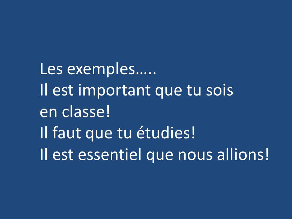 Les exemples….. Il est important que tu sois. en classe.