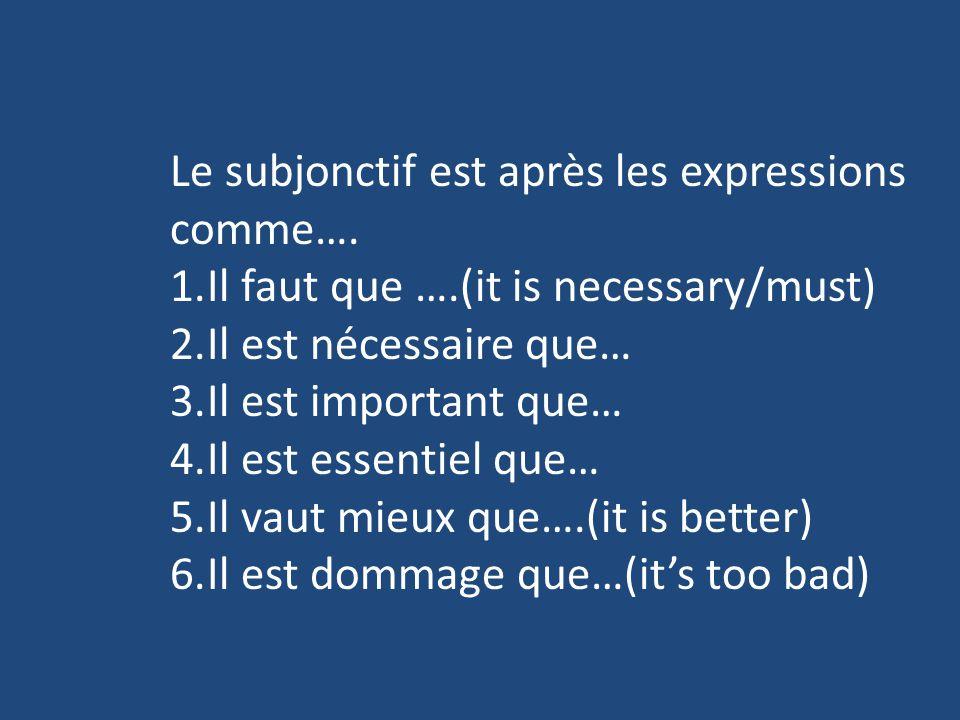 Le subjonctif est après les expressions