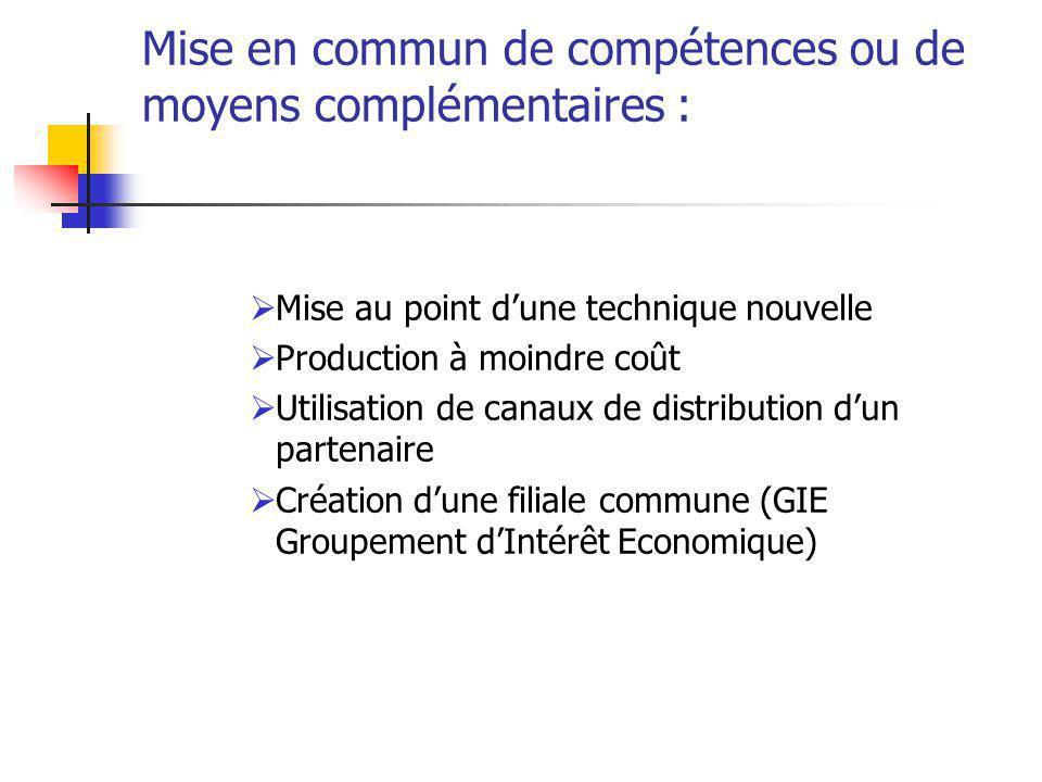Mise en commun de compétences ou de moyens complémentaires :