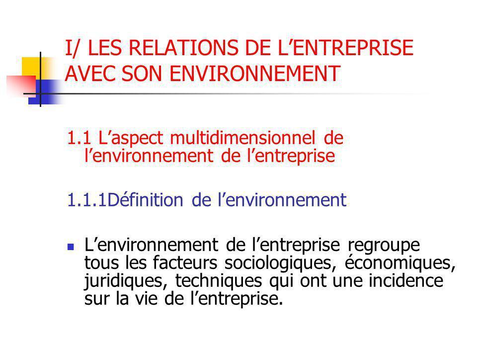 I/ LES RELATIONS DE L'ENTREPRISE AVEC SON ENVIRONNEMENT