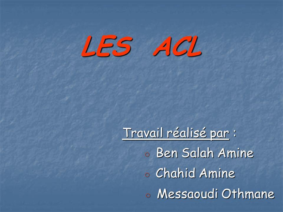 LES ACL ◦ Messaoudi Othmane Travail réalisé par : ◦ Ben Salah Amine