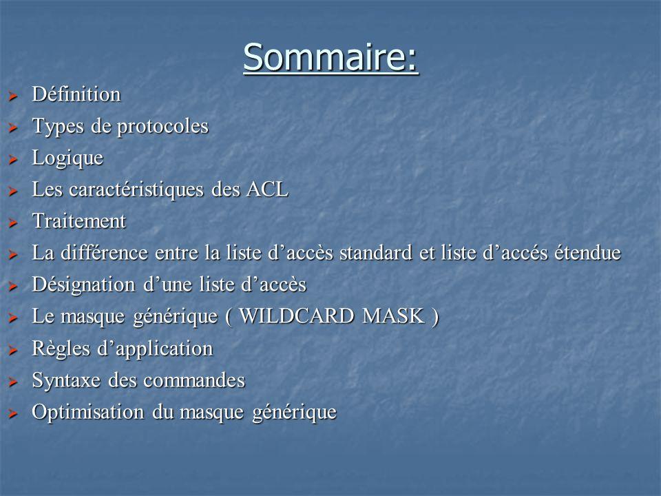 Sommaire: Définition Types de protocoles Logique