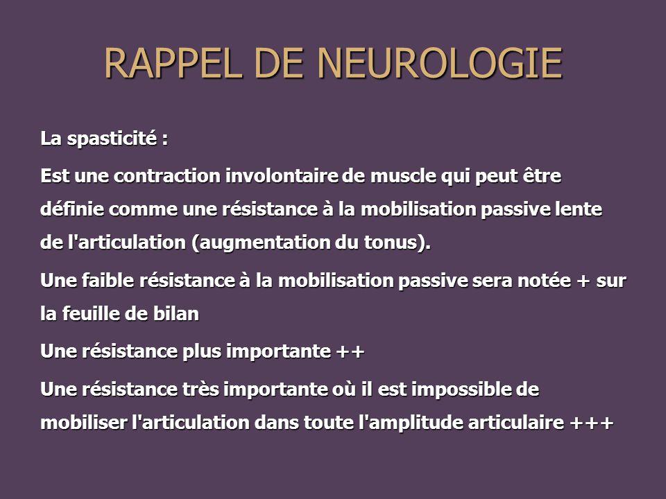 RAPPEL DE NEUROLOGIE La spasticité :