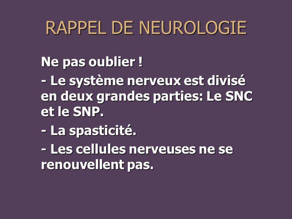 RAPPEL DE NEUROLOGIE Ne pas oublier !