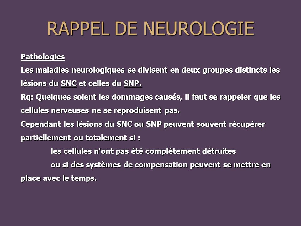 RAPPEL DE NEUROLOGIE Pathologies