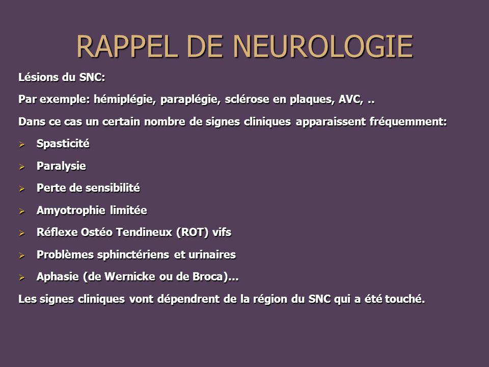 RAPPEL DE NEUROLOGIE Lésions du SNC: