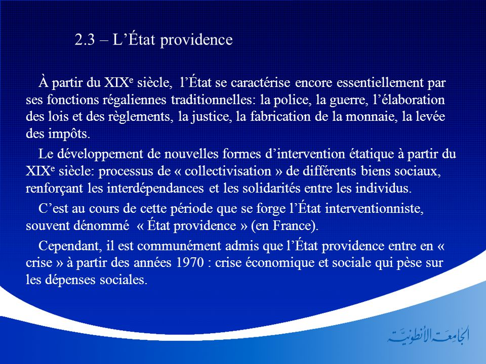 2.3 – L'État providence