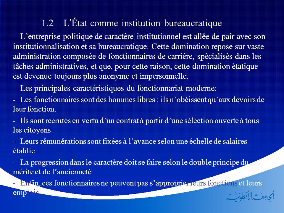 1.2 – L'État comme institution bureaucratique