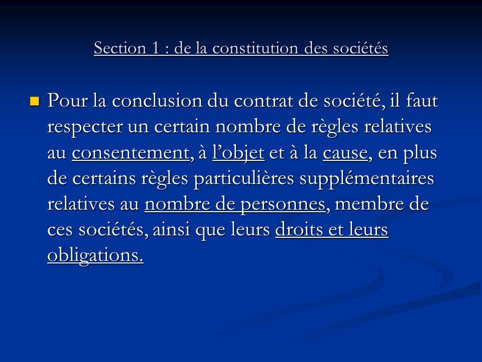 Section 1 : de la constitution des sociétés