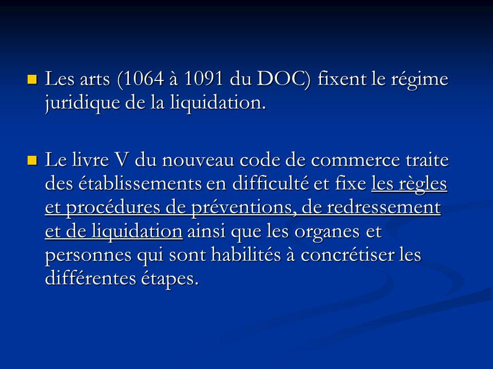 Les arts (1064 à 1091 du DOC) fixent le régime juridique de la liquidation.