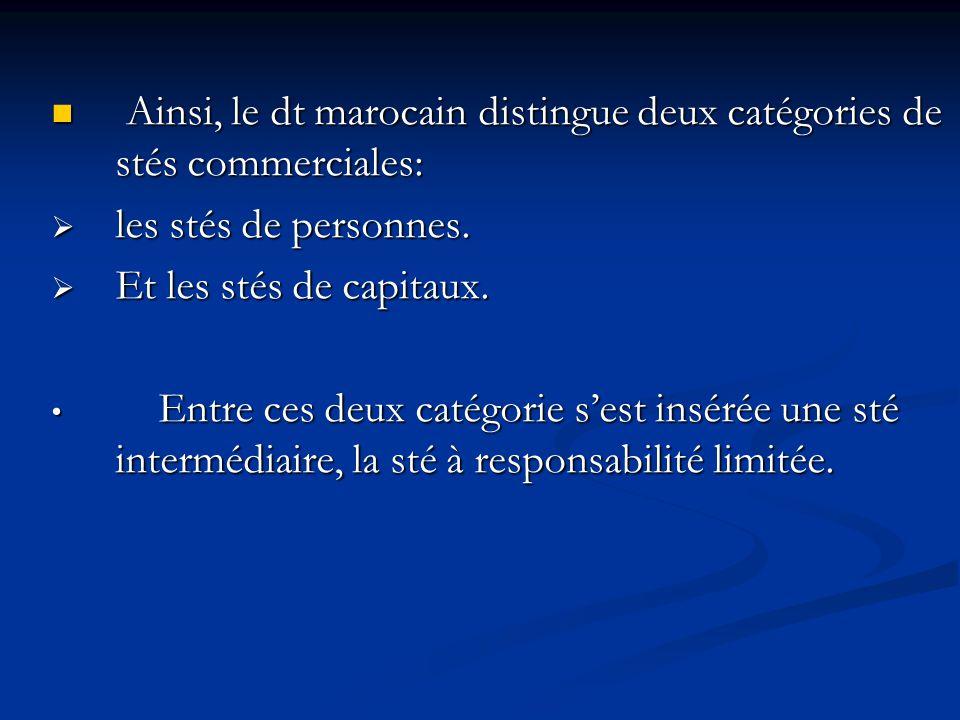 Ainsi, le dt marocain distingue deux catégories de stés commerciales: