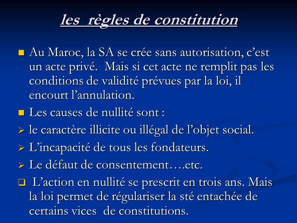 les règles de constitution