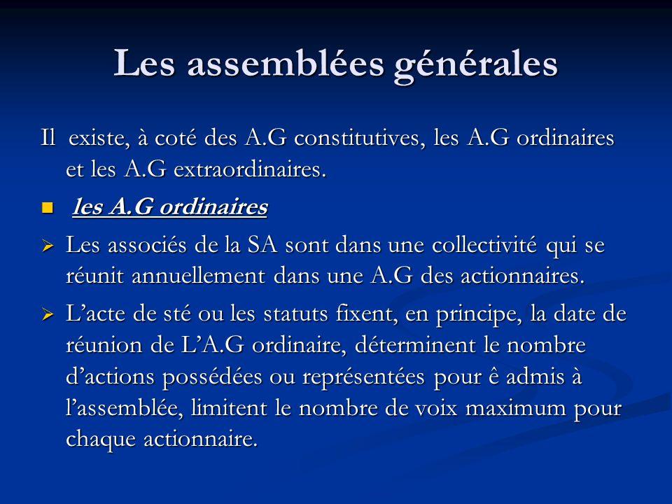 Les assemblées générales
