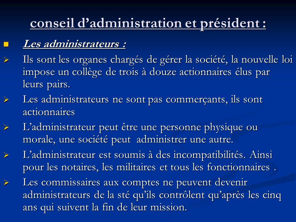 conseil d'administration et président :