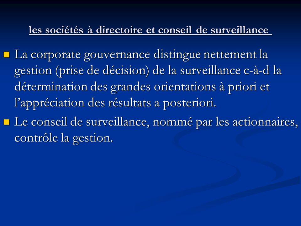 les sociétés à directoire et conseil de surveillance