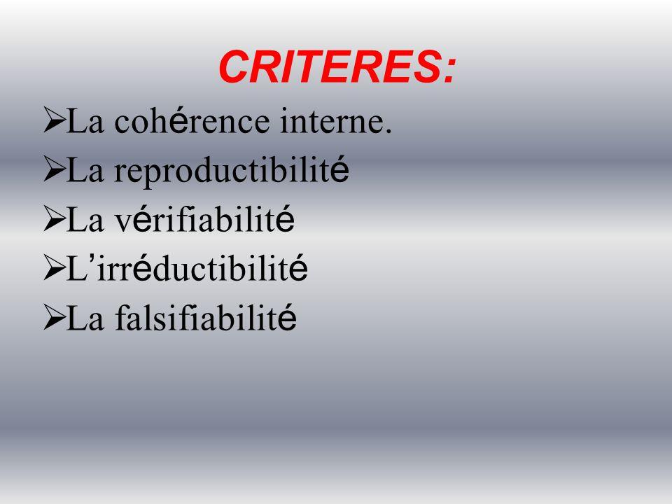 CRITERES: La cohérence interne. La reproductibilité La vérifiabilité