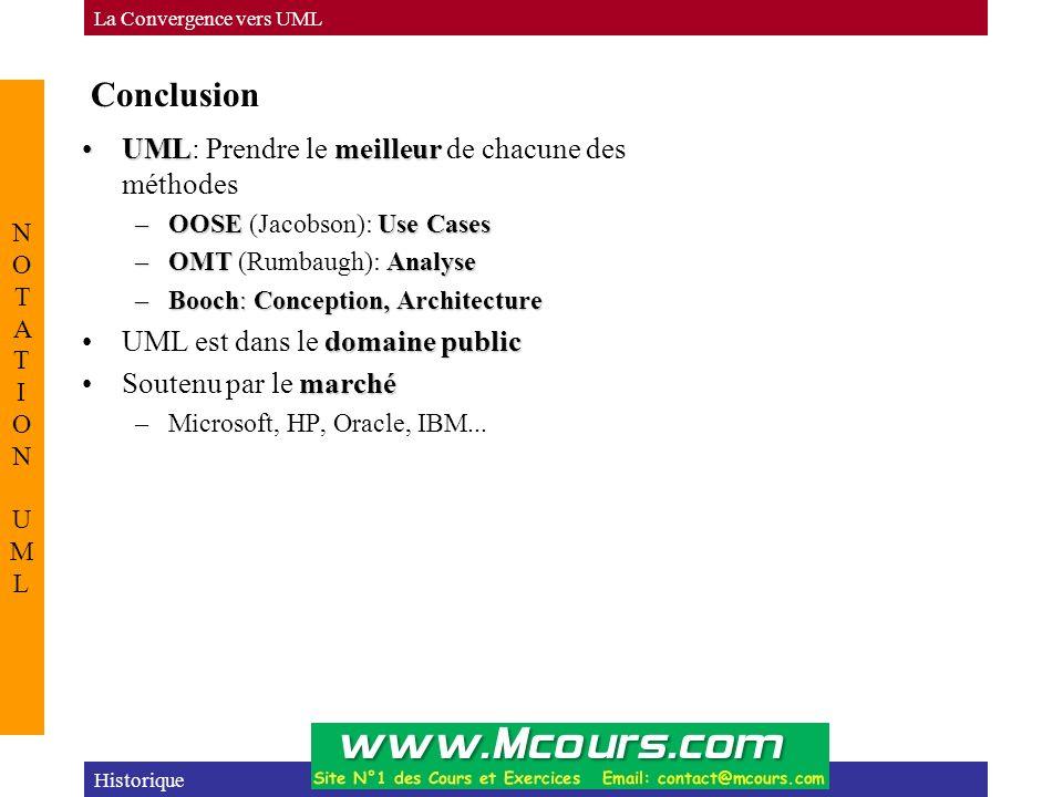 Conclusion UML: Prendre le meilleur de chacune des méthodes