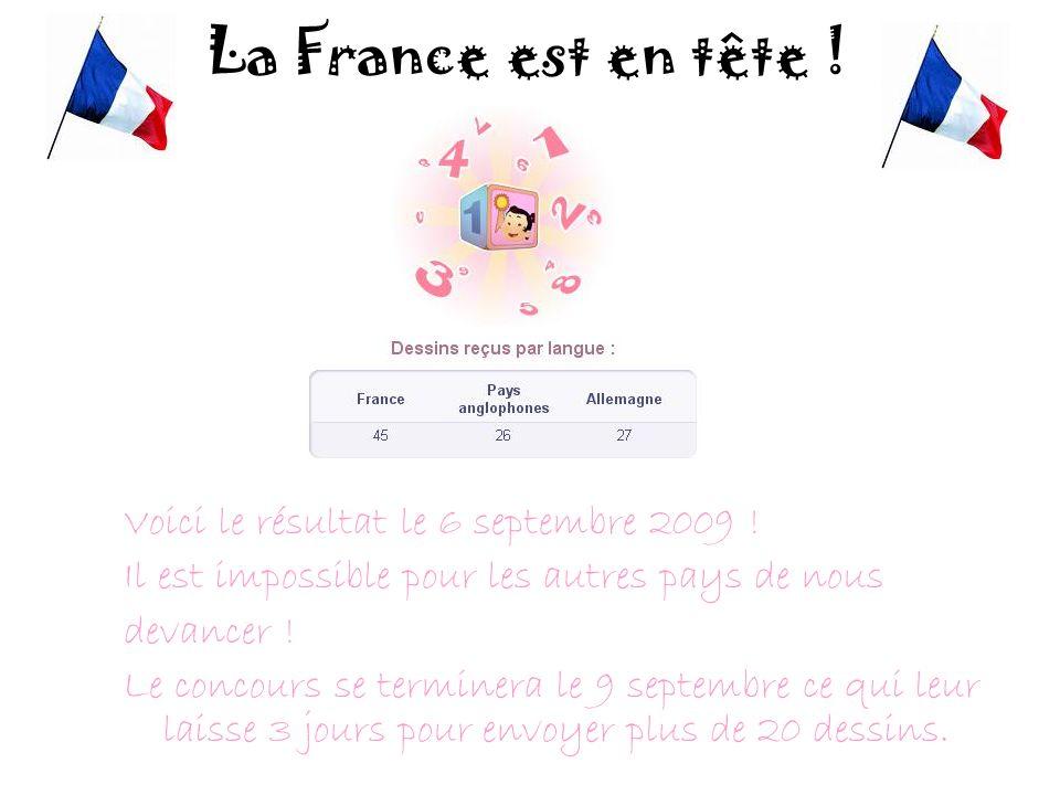 La France est en tête ! Voici le résultat le 6 septembre 2009 !