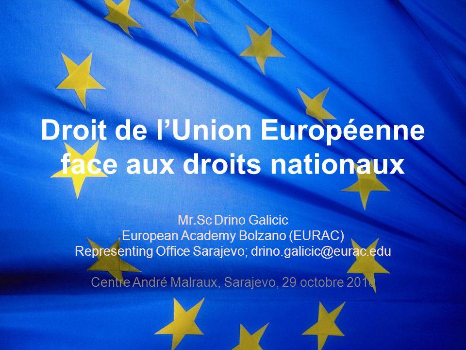 Droit de l'Union Européenne face aux droits nationaux