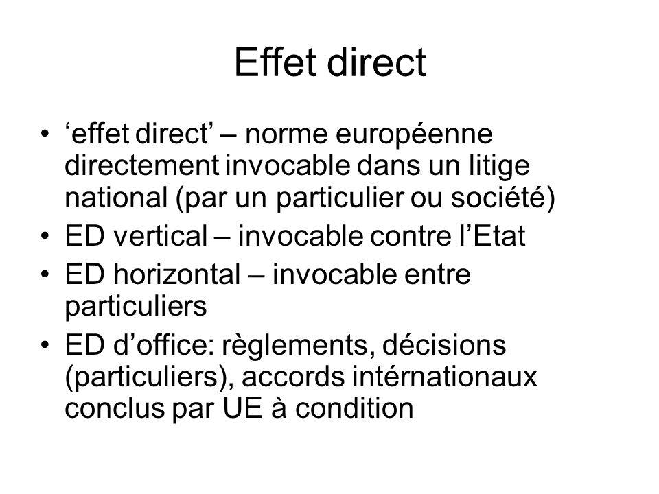 Effet direct 'effet direct' – norme européenne directement invocable dans un litige national (par un particulier ou société)