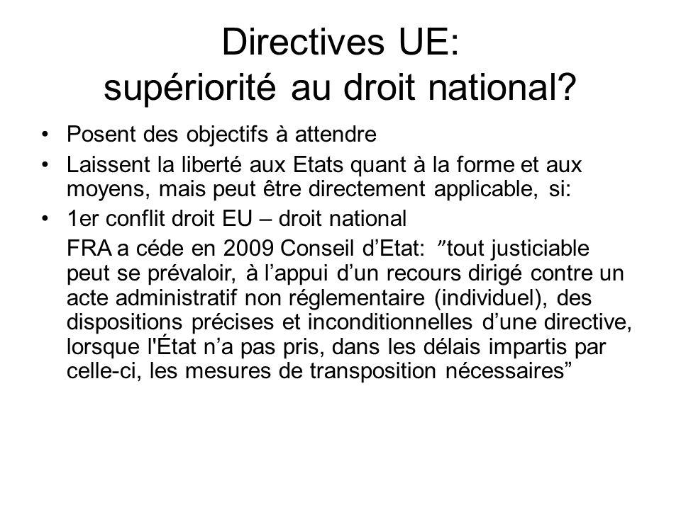 Directives UE: supériorité au droit national