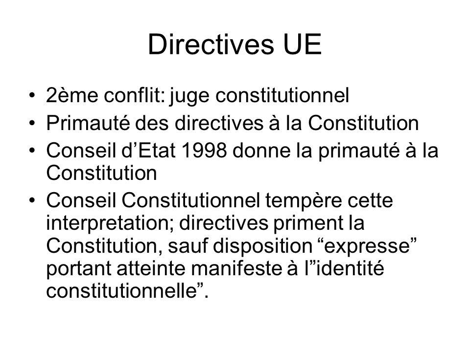 Directives UE 2ème conflit: juge constitutionnel