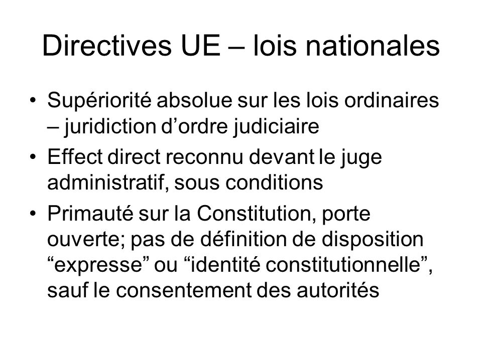 Directives UE – lois nationales