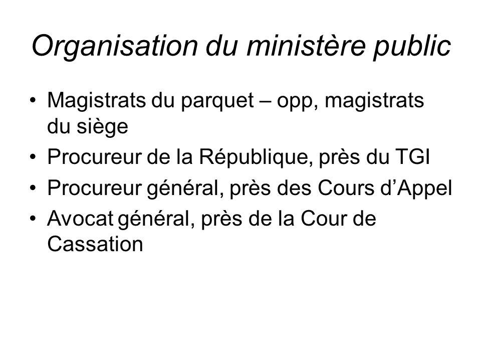 Organisation du ministère public