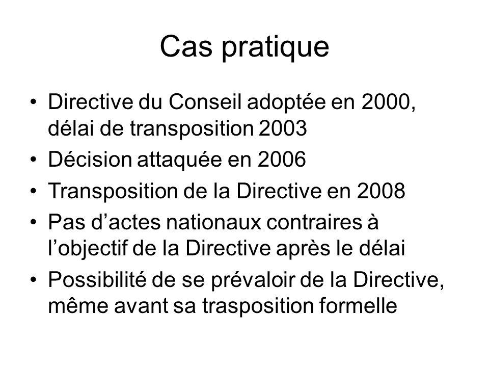 Cas pratique Directive du Conseil adoptée en 2000, délai de transposition 2003. Décision attaquée en 2006.