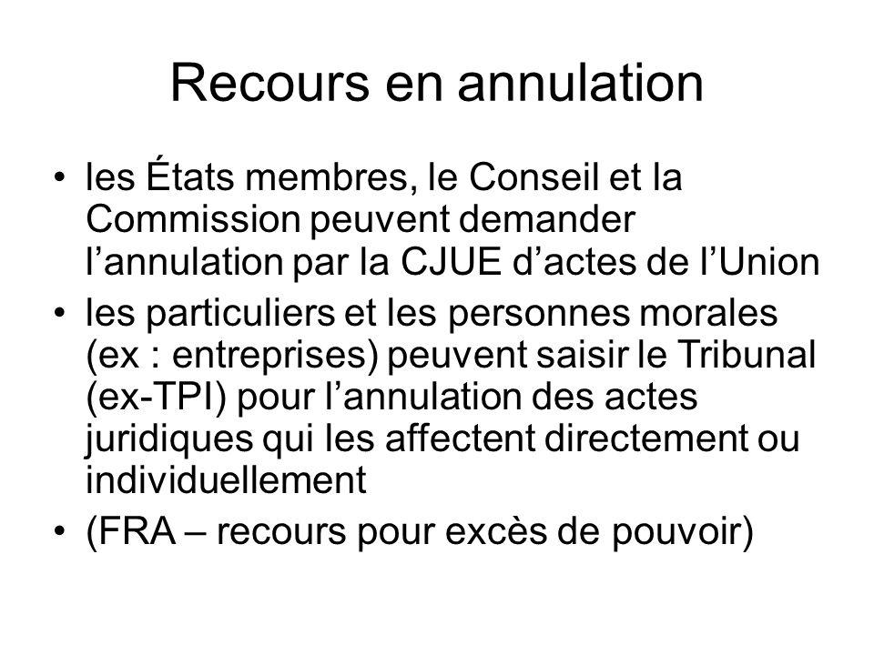 Recours en annulation les États membres, le Conseil et la Commission peuvent demander l'annulation par la CJUE d'actes de l'Union.