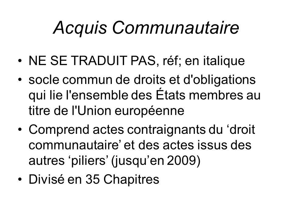 Acquis Communautaire NE SE TRADUIT PAS, réf; en italique