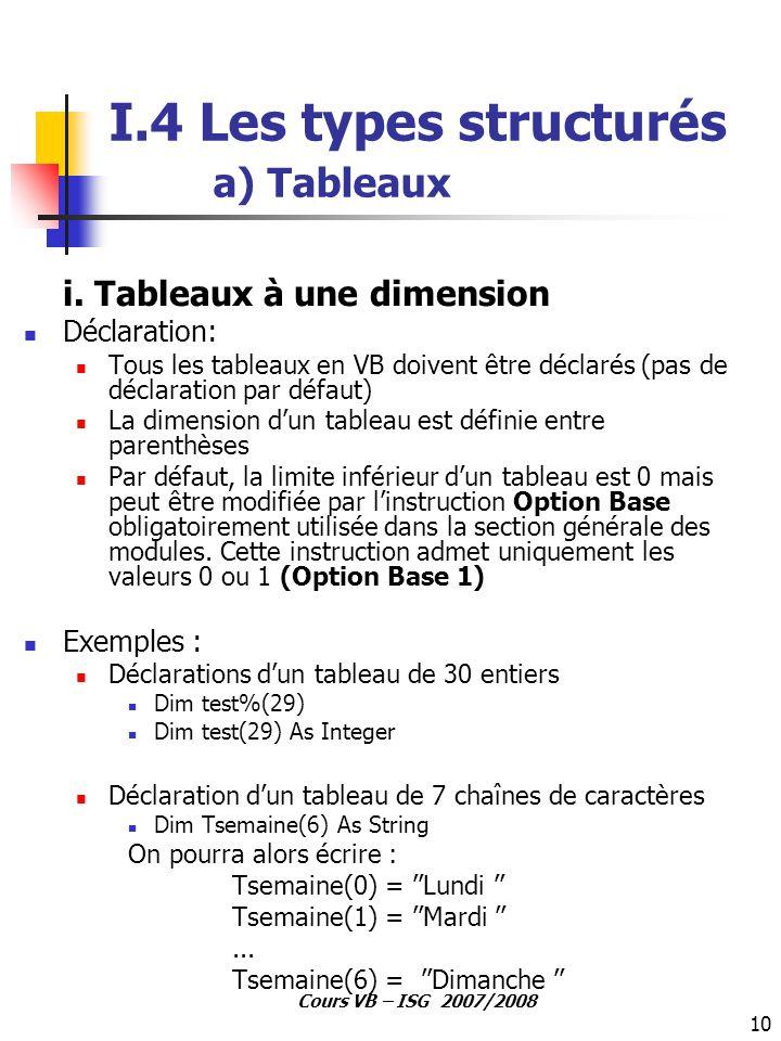 I.4 Les types structurés a) Tableaux