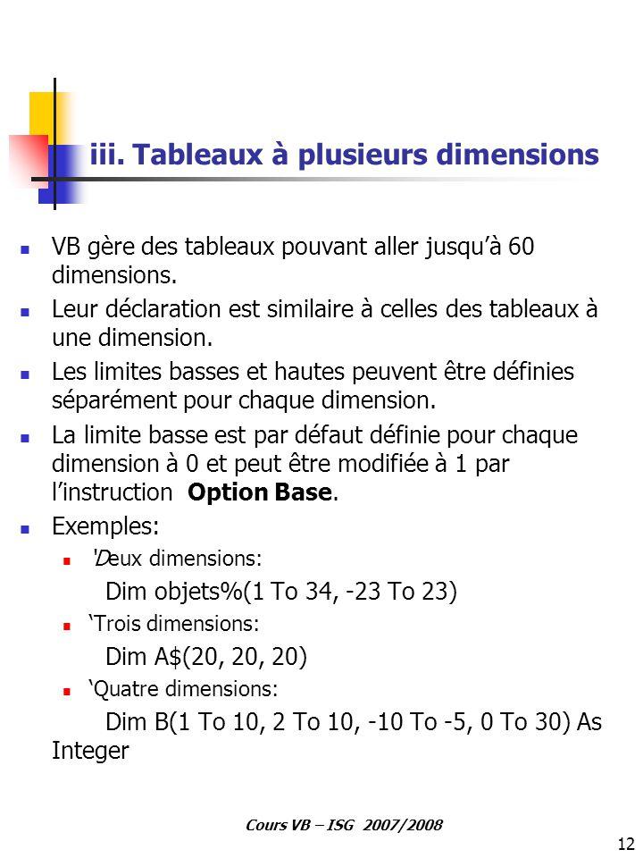 iii. Tableaux à plusieurs dimensions