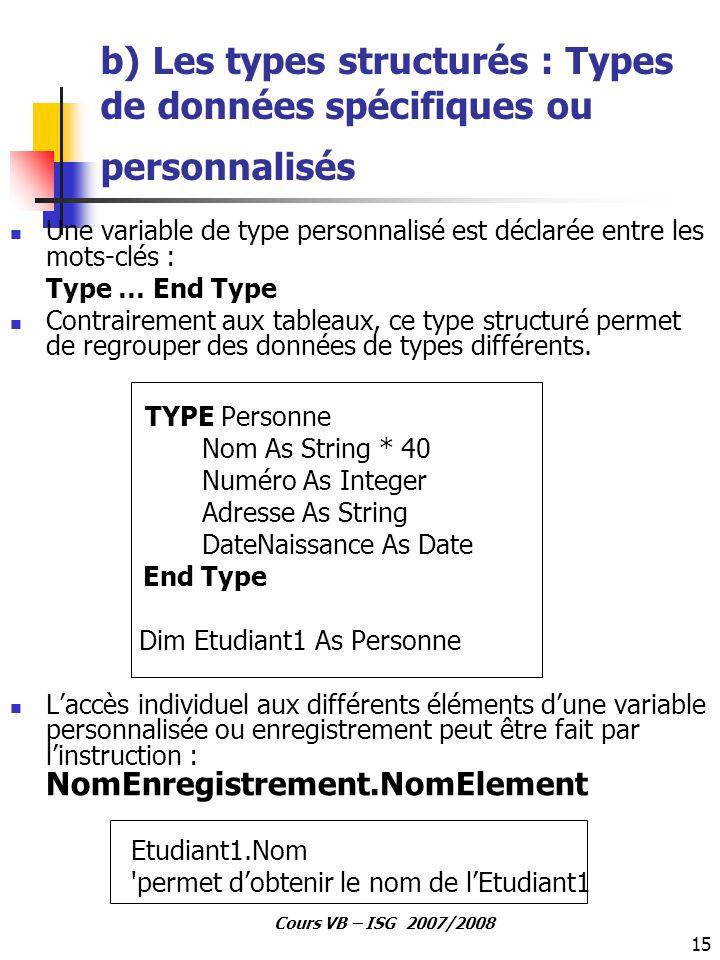 b) Les types structurés : Types de données spécifiques ou personnalisés