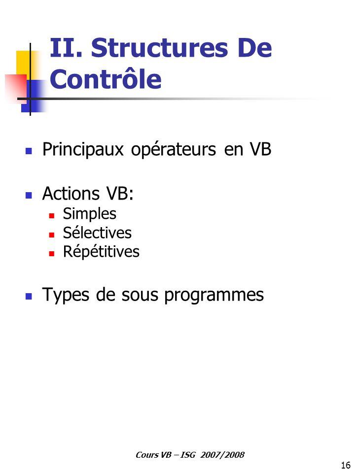 II. Structures De Contrôle