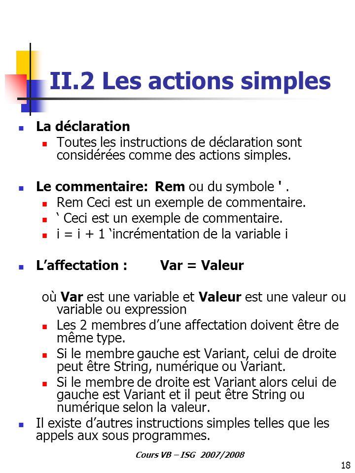 II.2 Les actions simples La déclaration