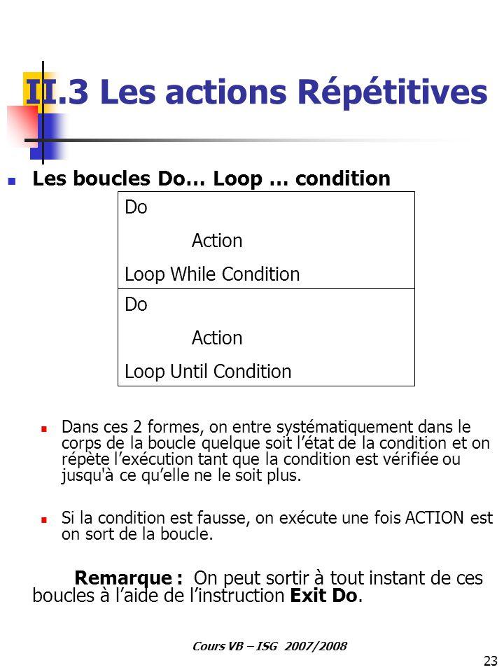 II.3 Les actions Répétitives