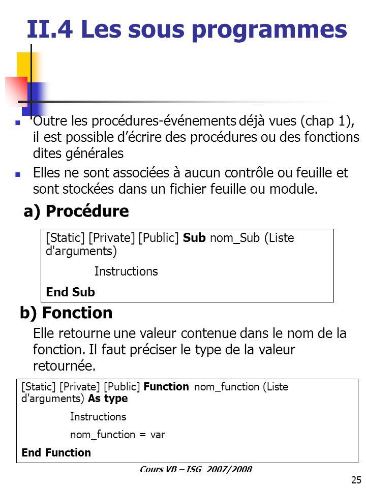 II.4 Les sous programmes b) Fonction a) Procédure