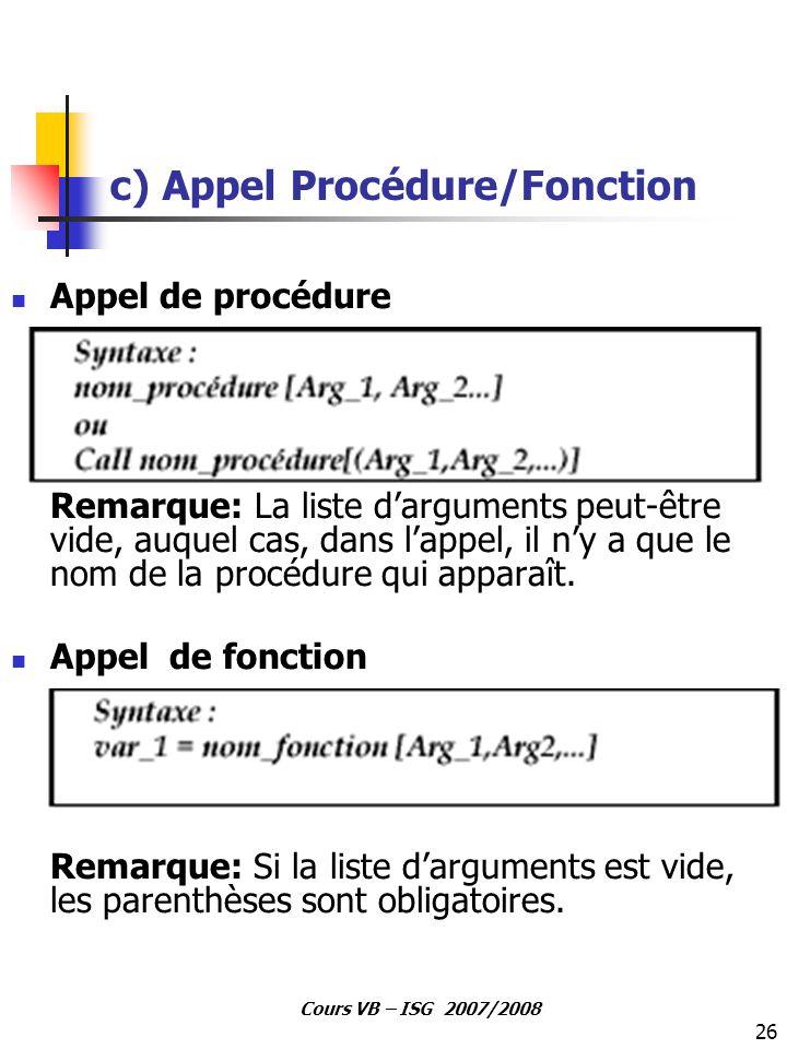 c) Appel Procédure/Fonction