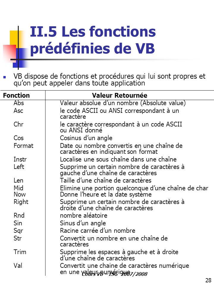 II.5 Les fonctions prédéfinies de VB