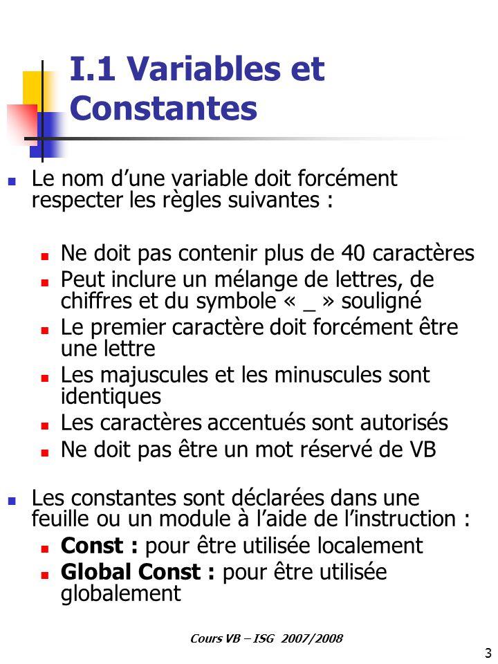 I.1 Variables et Constantes