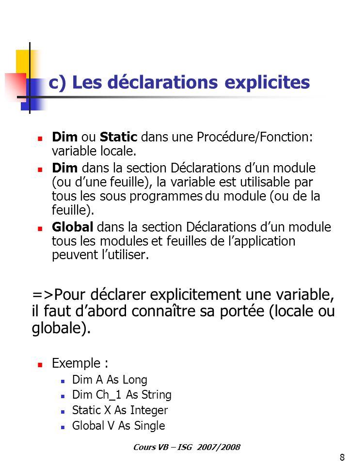 c) Les déclarations explicites