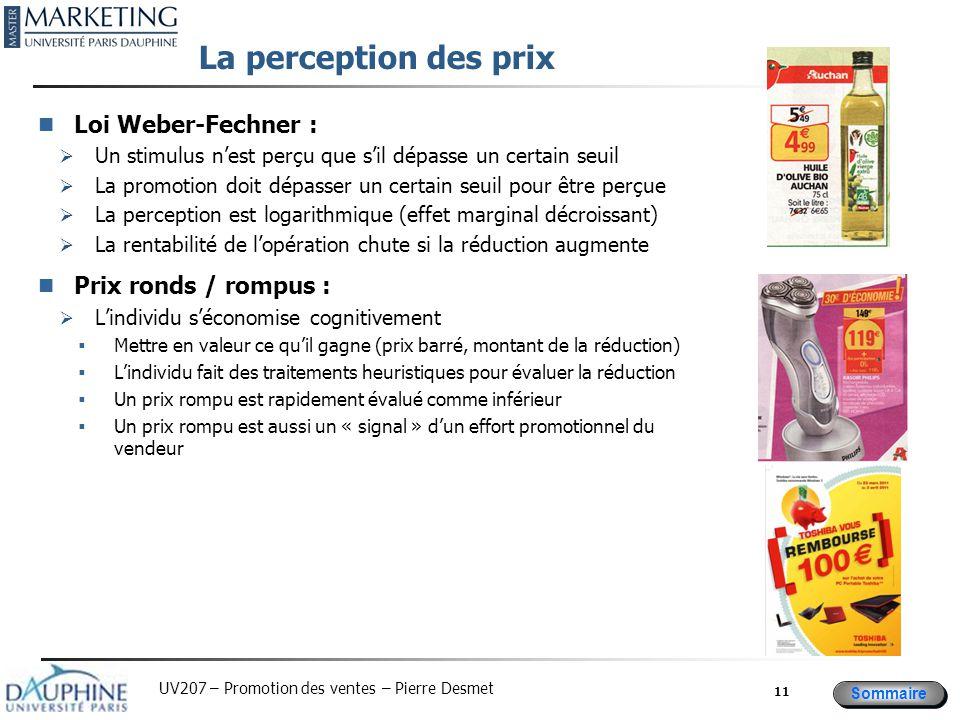 La perception des prix Loi Weber-Fechner : Prix ronds / rompus :