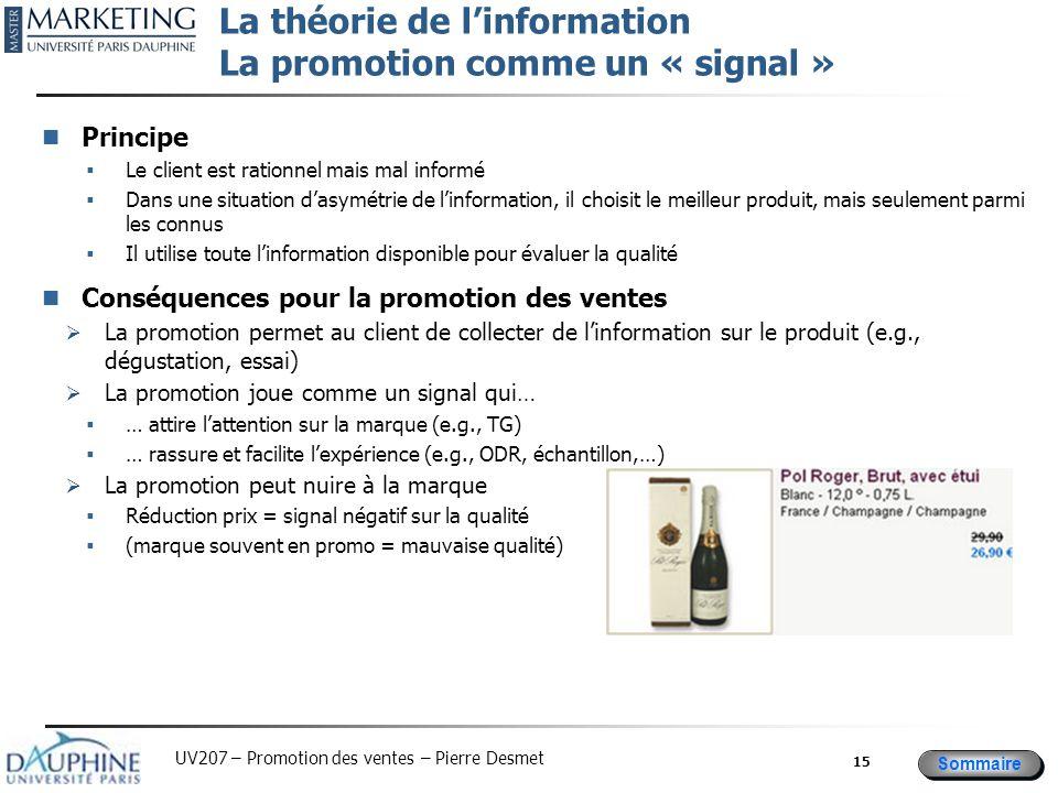 La théorie de l'information La promotion comme un « signal »