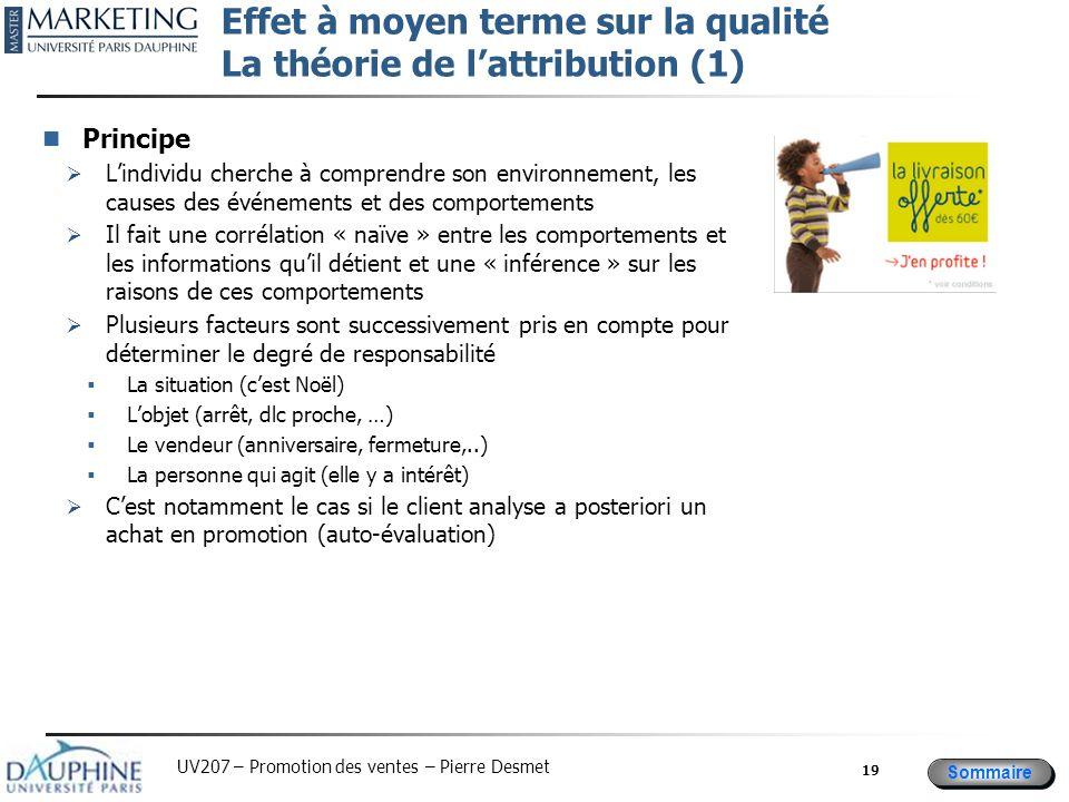 Effet à moyen terme sur la qualité La théorie de l'attribution (1)