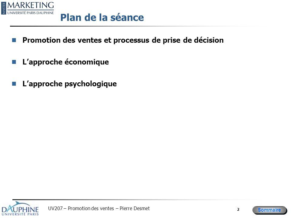 Plan de la séance Promotion des ventes et processus de prise de décision.