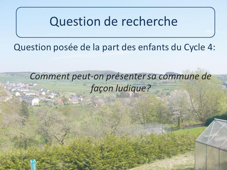 Question de recherche Question posée de la part des enfants du Cycle 4: Comment peut-on présenter sa commune de façon ludique.