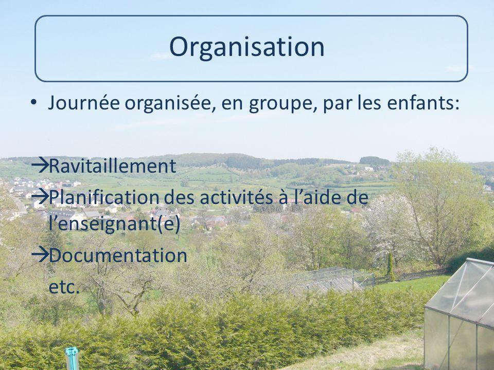 Organisation Journée organisée, en groupe, par les enfants: