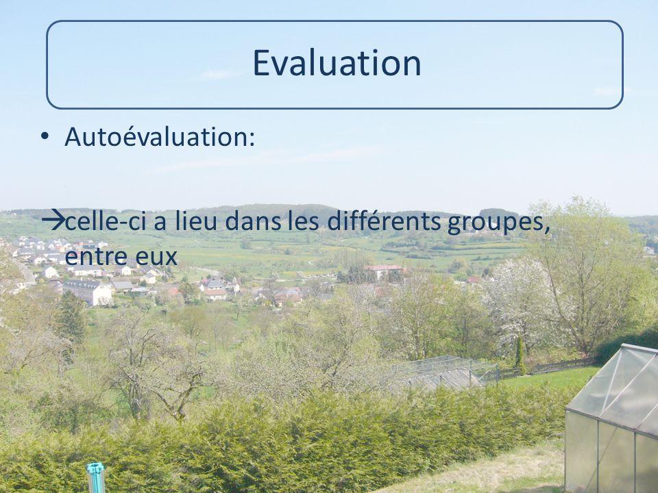 Evaluation Autoévaluation: